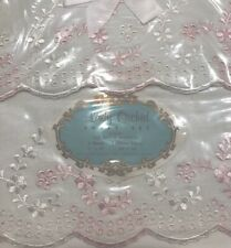 Vintage Lady Orchid Full Embroidered Sheet & Pillowcase Set Unused Original Box