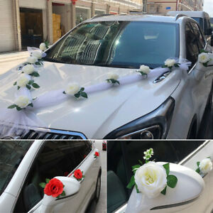 Wedding Decoration Flower With Ribbon Artificial Rose Bridal Handle Flowers Car