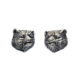 Sterling Silver Bear Head Stud Earrings - SE967