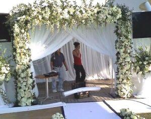 "Double layer 12 to 17 x 114"" wedding drape panel white or ivory B&G entrance."