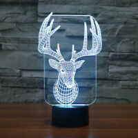 3D Santa Claus Reindeer illusion change led touch table night light bedroom lamp