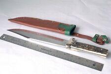Vintage Stag Edge Mark #447 XL Original Bowie Survival Hunting Knife w/ Sheath