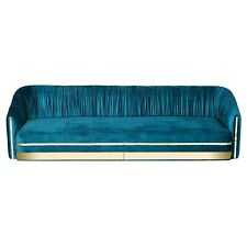 Stunning Customized Blue Color Plated Wooden 3 Seater Fabric Sofa