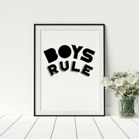 Boys Rule Poster For Playroom Black And White Artwork Boys Bedroom Prints