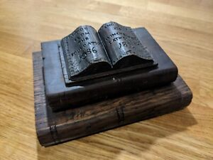 1896 oak book pile inkwell made from Winchester Cathedral roof foundations wood