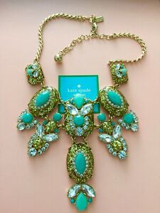 Kate Spade Showgirl Gems Statement Necklace  VEGAS JEWELS Aqua Glitter New