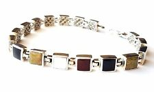 """MULTI STONE SQUARES BRACELET Double-Sided Marcasite .925 STERLING SILVER (7.25"""")"""