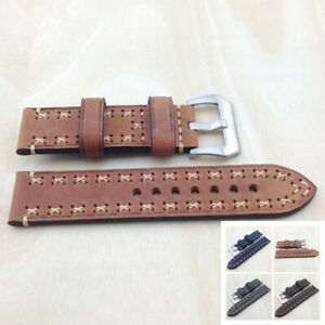 Top Layer Cowhide Genuine Leather Watch Bands Wristwatch Straps Parts 22mm Brown
