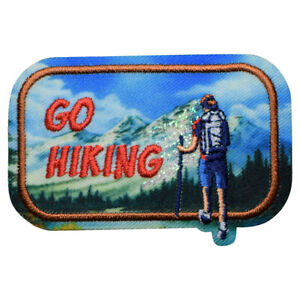 """Go Hiking Patch - Outdoors, Nature, Backpacking Badge 2.5"""" (Iron on)"""