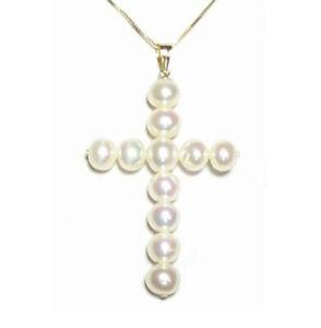 Genuine AAA White Pearl Cross Pendant in 14K Yellow Gold