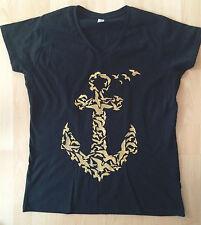 Handmade T-Shirt schwarz gold maritim ANKER Möwen XXL 44 46 Fruit of the Loom