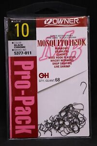 OWNER Mosquito Bait Hooks Pro Pack 5377-011 Size 10 - Black Chrome - Pack of 68