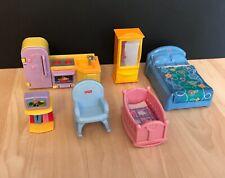 Fisher Price My First Dollhouse Furniture Bed Tv Couch Kitchen Crib Dresser