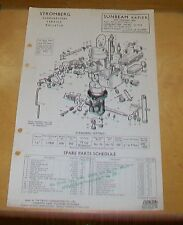 SUNBEAM RAPIER STROMBERG DIF-36 CARBURETTER SPARE PARTS TECHNICAL NOTES 1955-56