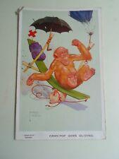 "Lawson Wood Monkey Postcard ""Gran' Pop"" Goes Gliding Franked 1936  §B512"
