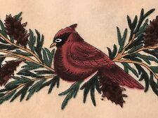 Fabric Cardinal Christmas Border Checkerboard on Flannel 1 Yard