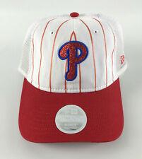 Phillies Baseball Hat New Era 9Twenty Women - White Red Pinstripes Glitter 'P'