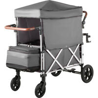 Baby Stroller Wagon Grey Wagon Canopy 110lbs Twin Baby W/Bag 5-point Harnesses