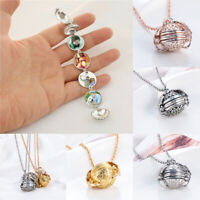 Expanding Photo Locket Necklace Silver Ball Angel Wing Pendant Memorial Gifts