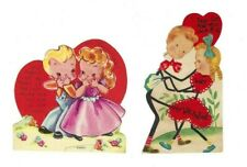 Vintage 1940's Valentines Wwii Era- Boy & Girl - Lot of 2, One Standable-Signed