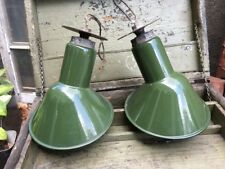 Vintage BENJAMIN Green Porcelain Enamel Angled Gas Station Light Fixture Pair