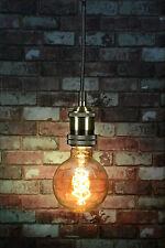 Antique Brass Modern Retro Vintage Industrial Pendant Ceiling Light +Tinted Bulb