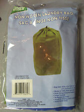 "New Laundry Bag Non-Woven Green 28"" x 12.5"" x 12.5"" With Large Pocket"