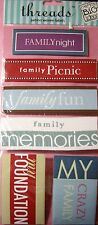 NEW 6 pc FAMILY 2 Crazy Memories Fun Night THREADS Woven Label Stickers MAMBI