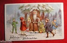 Weihnachtgrüsse,  Farblithograph. 1900, Weihnachtsmann beschert Kinder
