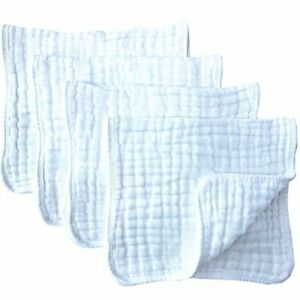 """Muslin Burp Cloths 4 Pack Large 20"""" by 10"""" 100% Cotton 6 Layers Extra"""