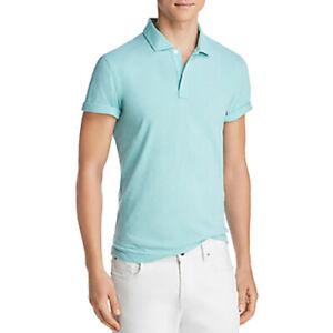 Bloomingdale's Mens Size 2XL Polo Shirt Slub Jersey Enzyme Wash Light Turquoise