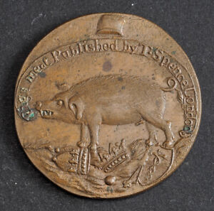 """1795, Great Britain. CU """"Pigs Meat"""" Halfpenny Token  by Thomas Spence. Rare!"""