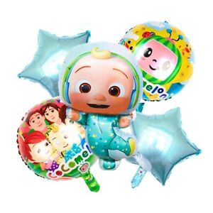 5PCS Large Cocomelon Themed Baby JJ Foil Balloon Kids Birthday Party Decoration!