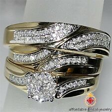 10k Yellow Gold FN Round Diamond Wedding Bridal Set His Her Trio Engagement Ring