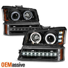 Fits 2003-2006 Chevy Silverado Black LED Halo Head Lights + DRL Signal Lights