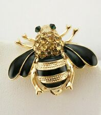 "Joan Rivers Enamel & Crystal Bee Pin  1""   Black & Champagne"