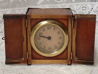 Antique, Unusual Travel, Carriage Clock In Mahogany Casing, Doors To Front