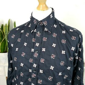 Dolce gabbana mens shirt size Medium Large Black flowers embroided sleeved patte