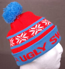 Ugly Sweater Run Winter Hat-Blue Red-Pom-Snowflake-Toque-Beanie-Tobogan-Acrylic.