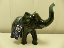 "Blue Mountain Pottery Elephant 7.5"" Green Glaze ~ Mint w/ Tags 058582871815"