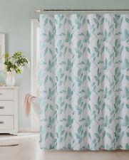 """Fabric Shower Curtain: Blue Leaf Design. 72"""" x 72"""""""