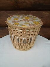 Dritz Vintage Sewing Basket  -Silk Lined Floral, Round Woven Basket - Japan -