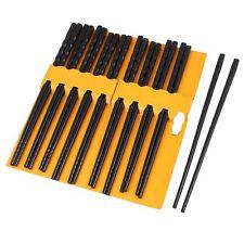 10 Pairs Kitchen Dishware Nonslip Plastic Chopsticks Black SH