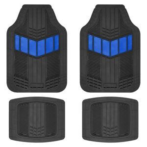 Motor Trend FlexTough 2-Tone Rubber Floor Mats 4 PC Set - Blue for Car SUV Auto