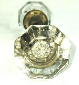 """Antique Glass Door Knob 8 Point Set with Brass Fittings 2 1/4"""""""