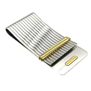 Vintage Cartier Money Bill Clip Silver Godron Gold Ring Accent with Case