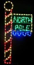 Christmas North Pole Flag Sign Outdoor LED Lighted Decoration Steel Wireframe
