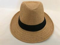MEN WOMEN Straw  Hat Trilby Cuban Cap Summer Beach Sun Panama Short Brim Khaki