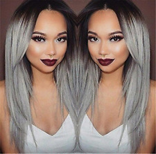 Long Straight Hair Two Tone Black and Grey Ombre Wig Heat Resistant By Superwigy