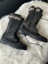 Timberland Womens 6.5 Leather and Faux Fur Tall Lace Up